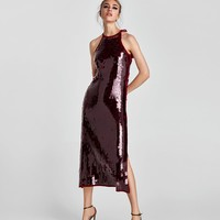 SEQUINNED HALTER NECK DRESS