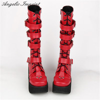 Japanese Harajuku Thick Platform Punk Goth Cosplay Boots Women Burgundy Leather Buckle Straps Lace Up High Boots