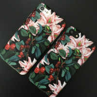 Fashion beautiful  cherry tree TPU Case Cover for Apple iPhone 7 7Plus 6 Plus 6 -05012