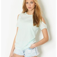 BLONDE & BLONDE Cold Shoulder Boyfriend T-Shirt - mint top with shoulder cut outs