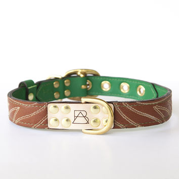 Emerald Green Dog Collar with Brown Leather + Ivory Stitching