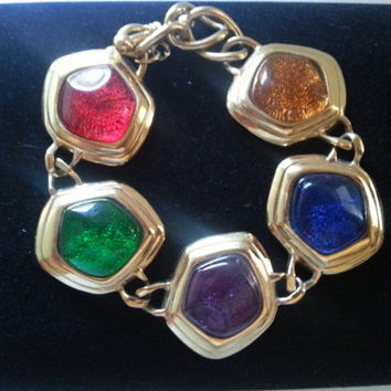 Vintage Wide Bracelet, Red Green Blue Purple Yellow Stones, High End Vintage Jewelry, KJL 1960's 7970's, Holiday Gift For Her
