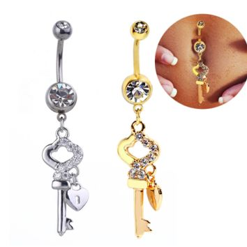 Simple design lovely key tassel zircon belly button ring antiallergic Navel Belly Ring-0429-Gifts box