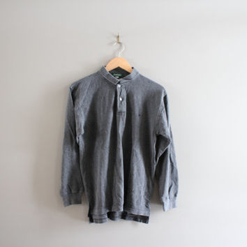 US Free Shipping Charcoal Gray Plain Solid Polo Long Tee / Distressed Faded / 90s / Polo / Grunge / Goth / Hipster / Vintage / Size L