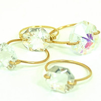 Simple Chandelier Crystal Ring Gold Plated Single Wire