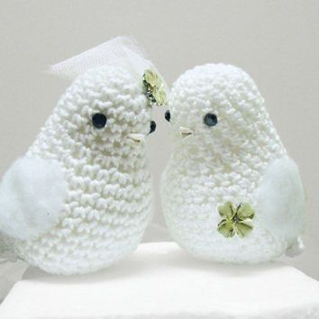 wedding cake topper love birds / Birds Wedding Cake Topper/ Custom Wedding Cake Topper / Crochet Wedding Birds Amigurumi