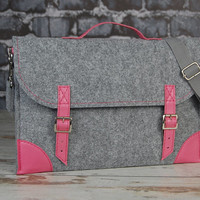 Felt Laptop bag 13 inch with pocket sleeve, macbook pro bag, macbook air 13 inch bag, sleeve, Laptop case with belt shoulder