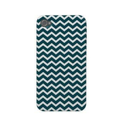 Teal Zig Zag Chevrons Pattern Iphone 4 Cases from Zazzle.com