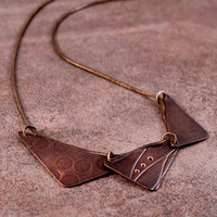 "Roller Printed Copper Triangle Necklace- Triptych- Polka Dots, Curvy Lines and Crisscross with 18"" Copper Snake Chain"