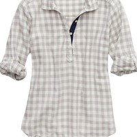 Aerie Women's Flannel Sleep Shirt (Silver Steel)