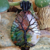 TREE of LIFE Pendant Black Wire Wrapped Rainbow Onyx Druzy Geode Agate  Stone Pendant Necklace Copper Patina Onix Jewelry