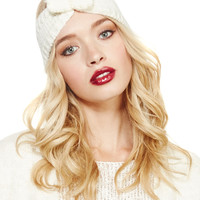 Faux Pearl Bow Knit Headwrap | Wet Seal