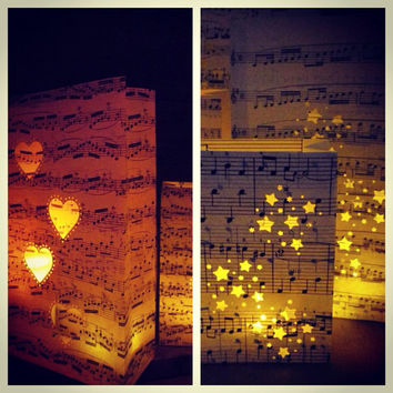 10 Sheet Music Lanterns, Music Themed Wedding Decorations, For Weddings & Events, Luminaries, Music Centerpieces, Wedding Centerpiece