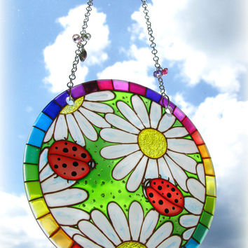 Hand Painted Suncatcher Ladybugs on Daisies tand Glass Painting Home Decor Artwork Suncatcher Window Hanging Gift Ready to Ship