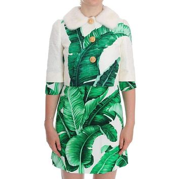 Dolce & Gabbana White Brocade Banana Leaf Fur Bolero Jacket