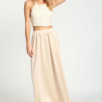 TAUPE FLARED SCUBA MAXI SKIRT