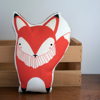 Handmade Fox Pillow, Fox Toy, Stuffed Animal, Baby Toy, Baby Fox Pillow