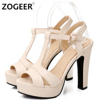 Plus Size 34-43 Hot 2017 Summer Women Sandals Fashion High Heels Sandal Sexy Gladiator T-strap Platform Party Dress Shoes Woman