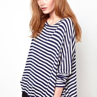 Blue Striped Long-Sleeve Batwing Top