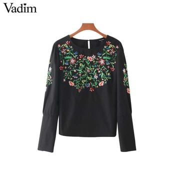 women sweet floral embroidery black shirt cuff zipper design long sleeve o neck loose blouse casual tops