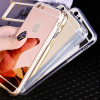 Soft Mirror Phone Case For Coque iPhone 5s 5 6 6s 6plus 6s plus Ultra Thin Soft Electroplating Make UP Mirror Back Cover Fundas