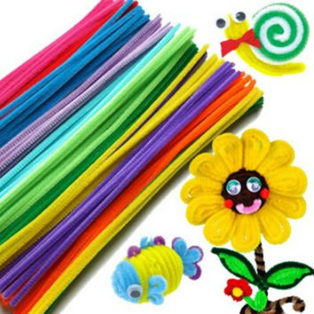 100pcs Montessori Chenille Sticks For Craft Children Kid Pipe Cleaner Stems Craft Creative fun Games Cocktail Bar