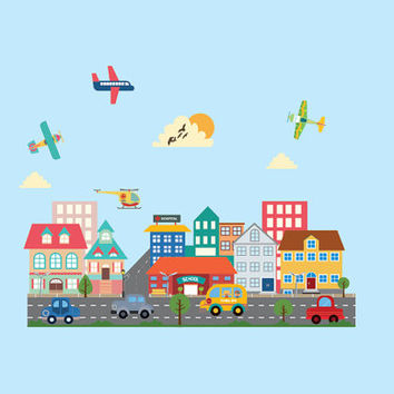 Cars-Planes and city -Large City decal for boys - Reusable fabric decal-Nursery wall decals for boys