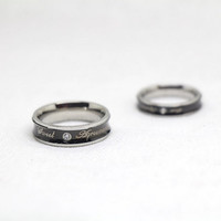 2pcs-Free Engraving,black rings, promise ring,couple Rings, Lovers rings