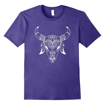Cow T-Shirt Skull Indian Native American Cool Headdress Tee