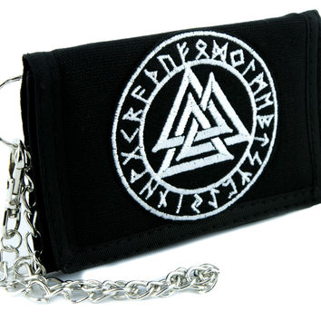 Valknut Odin Viking Symbol Tri-fold Wallet Alternative Clothing Old Norse Mythology