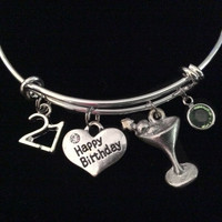 Happy 21st Birthday Martini Birthstone Expandable Silver Charm Bracelet Adjustable Bangle Trendy 21 Gift
