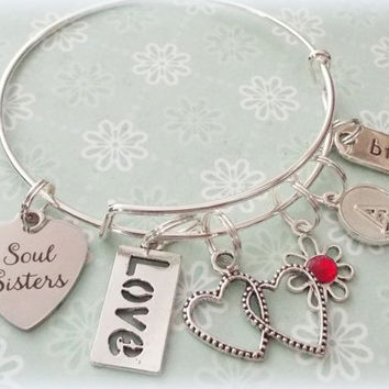 Best Friend Jewelry, Gift for Best Friend, Soul Sisters Charm Bracelets, Sister Jewelry, Best Friend Gift, Sister Gift, Friend Gift