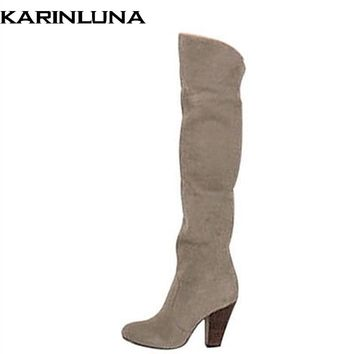 Large Size 34-43 Women Knee High Boots Sexy Spike High Heels Spring Autumn Shoes Woman Round Toe Less Platform Knight Boots