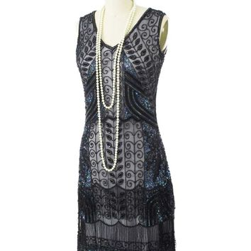 20's Reproduction Marcelle Black Beaded Flapper Dress
