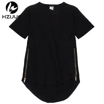 HZIJUE Side Zipper Extended Man Mens Hip Hop Hiphop Swag Long Casual T Shirt Top Tees Justin Bieber Style Clothes Clothing KANYE