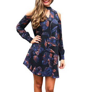 Women Vintage Boho Style Long Sleeve Printed A-Line Mini Dress Ladies Fashion Evening Party Dress Casual Beach Dress Vestidos