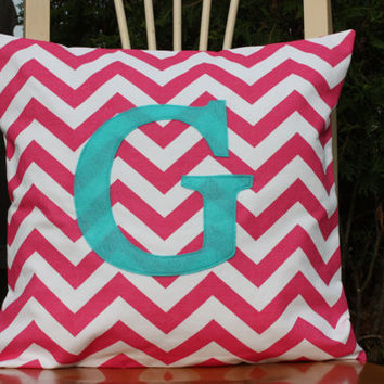 Monogrammed Candy Pink Chevron Pillow Cover  by nest2impress