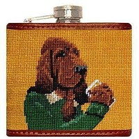Booze Hound Needlepoint Flask in Tan by Smathers & Branson