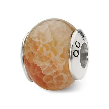 Peach Cracked Agate Stone Bead & Sterling Silver Charm, 13mm