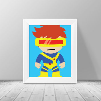 Super Hero Decor- Cyclops Print,  Superhero Art, Instant Download , PRINTABLE 8x10, Kids Wall Art , Nursery Wall Art, Playroom Art