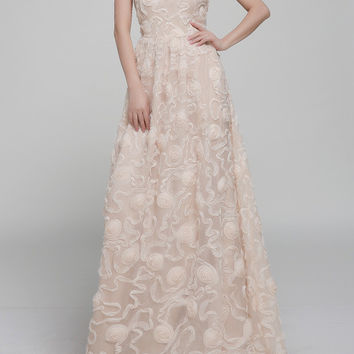 Apricot Sleeveless Flower Embroidery Organza Princess Maxi Dress