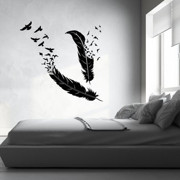Feather and Birds Vinyl Decal Home Decor