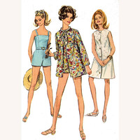 60s vintage bathing suit beach dress and beach jacket sewing pattern Simplicity 7697  Bust 38