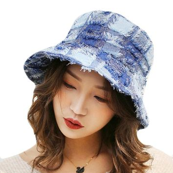 Summer Sun Hat For Women Large Brim Floppy Spring Cotton Bucket Hats Female Plaid Beach Foldable Visor UV Caps Casual Basin Cap