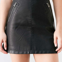 Silence + Noise Vegan Leather Biker Mini Skirt - Urban Outfitters