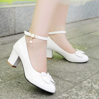 Bowtie Women Pumps Ankle Straps High Heels Thick Heeled Shoes Woman