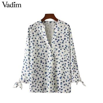 women V neck floral shirts sweet bow tie pocket long sleeve blouses elegant ladies casual brand tops