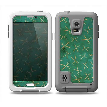 The Green And Gold Vintage Scissors Skin for the Samsung Galaxy S5 frē LifeProof Case