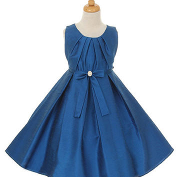 Beautiful Blue Poly Dupioni Flower Girl Dress