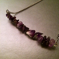 Amethyst crystal bar necklace healing minimalist boho hippie gypsy spiritual meditation simple metaphysical